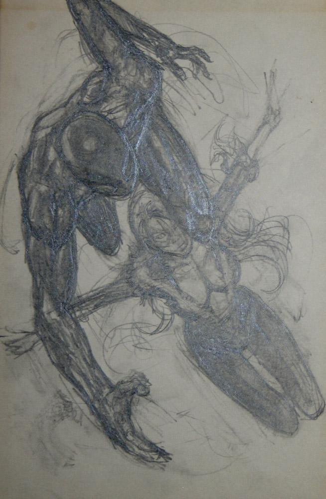 BLACK CAT vs AMAZING SPIDERMAN mark beachum original art supergurlz sexy male female superheroes art