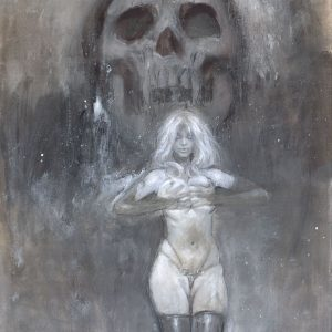 lady death sexy fetish art painting latex skull cameltoe superhero dark art mark beachum rihanna handbra