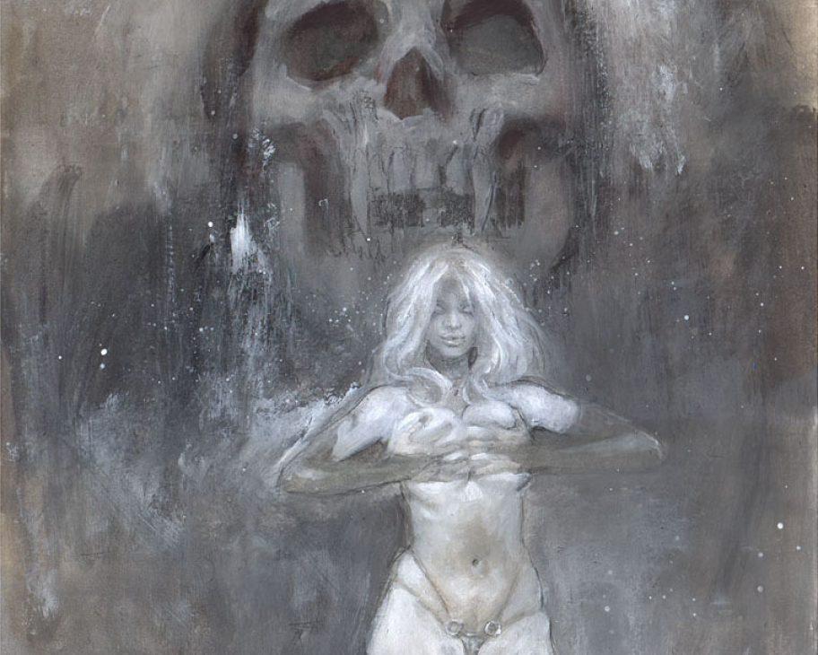 lady death sexy fetish art painting latex skull cameltoe superhero dark art mark beachum rihanna handbra