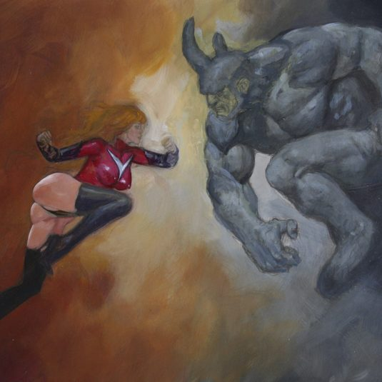 Ms Marvel vs Rhino mark beachum supergurlz.net sexy original art fighting superheroes painting thong muscles