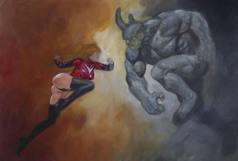 Ms Marvel vs Rhino mark beachum supergurlz.net sexy original art fighting superheroes painting thong muscles