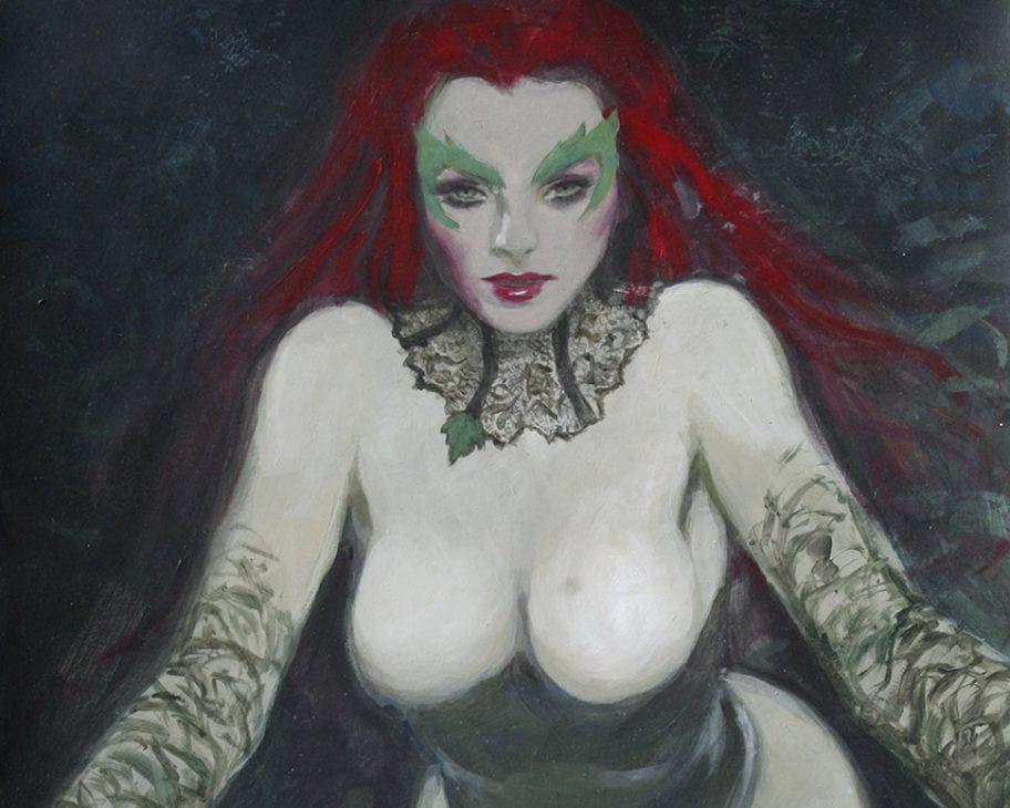 poison ivy forest nymph supergurlz sexy art mark beachum redhead superhero green skin painting lace corset plants nature
