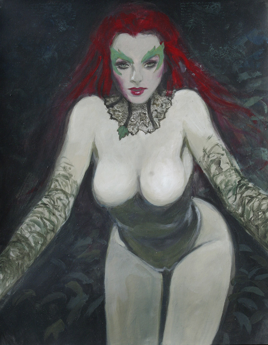 poison ivy forest nymph supergurlz sexy art mark beachum redhead superhero green skin painting lace corset plants nature