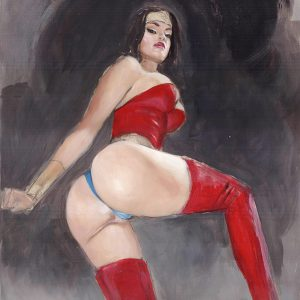 Wonder Woman: Into Danger mark beachum supergurlz original art sexy superheroines mark beachum oily ass fetish red shiny boots