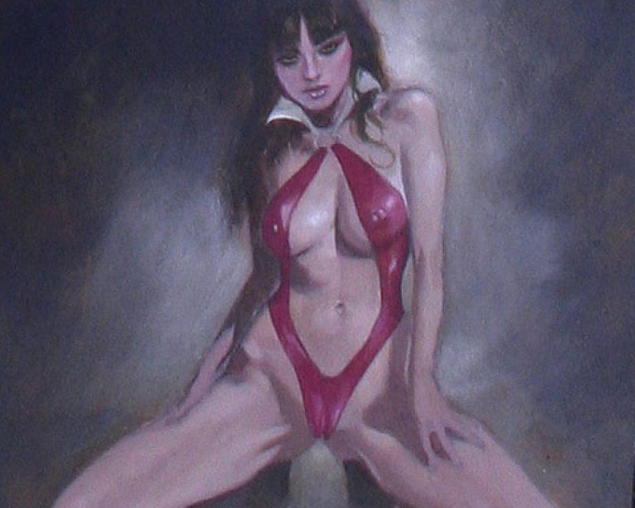 VAMPIRELLA: THE CARNAL PIN-UP sexy supergurlz original erotic art mark beachum vampire sex obscure
