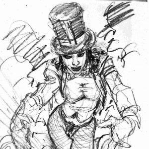 zatanna burlesque sketch v4 mark beachum original art supergurlz