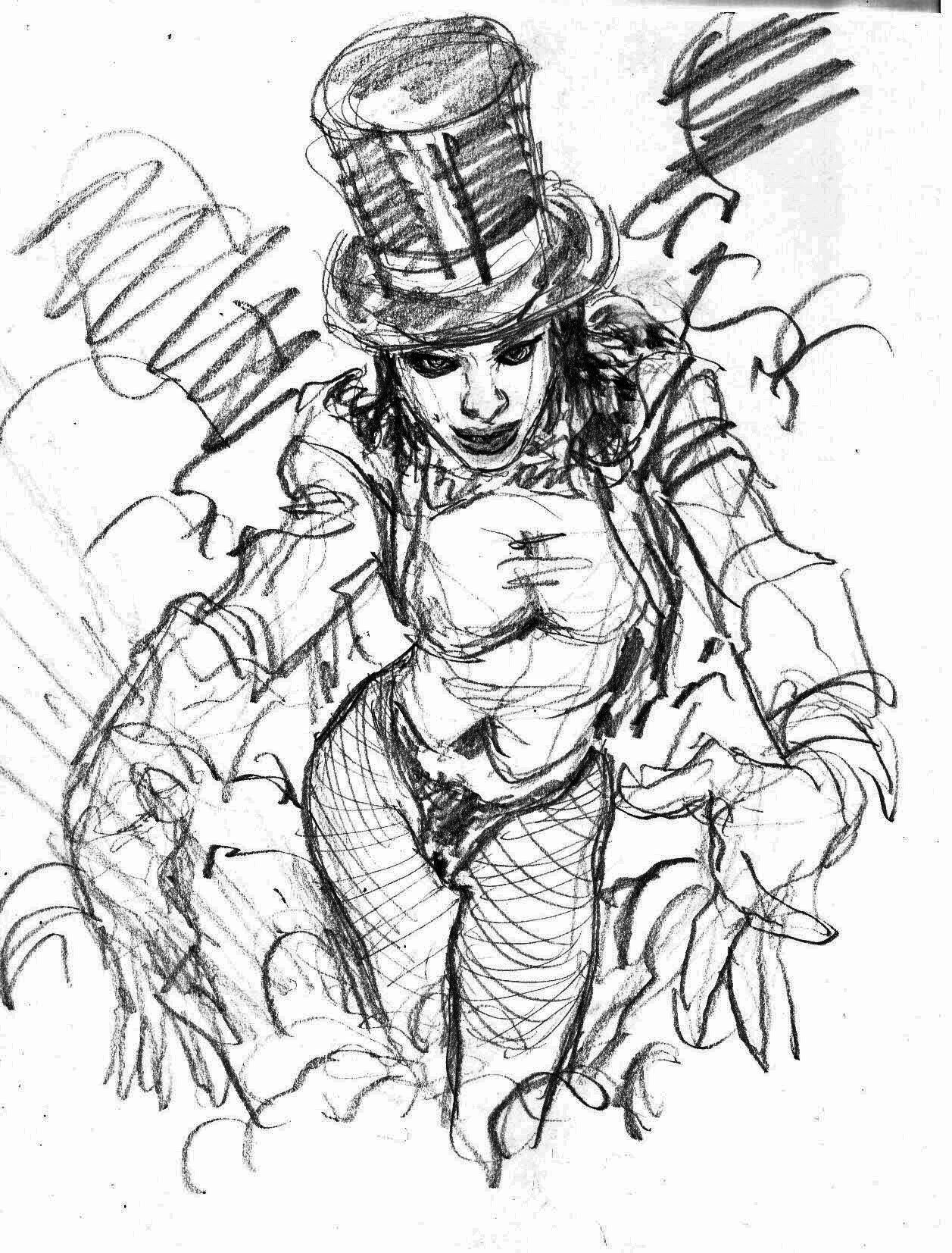 zatanna burlesque sketch v4 mark beachum original art supergurlz