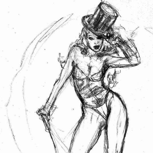 zatanna burlesque sketch v3 original art sketch mark beachum supergurlz
