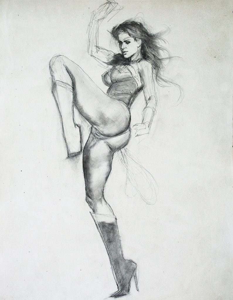 Wonder Woman Pencil Study mark beachum erotic adult comic art Gina Carano original art supergurlz.net