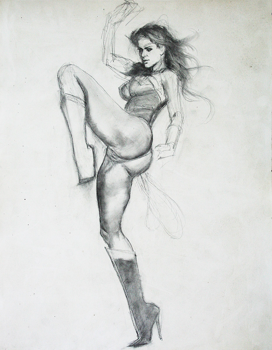 Wonder Woman Pencil Study mark beachum erotic adult comic art Gina Carano original art supergurlz.net
