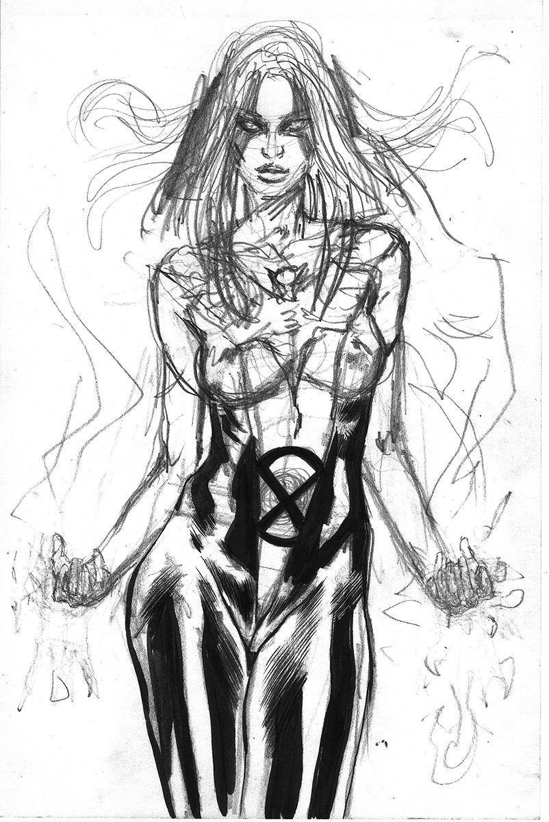 dark phoenix jean grey ink art sexy mark beachum ink wash painting sexy x-men superhero