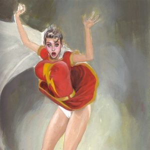SHAZAM! MARY MARVEL IN TROUBLE SHAZAM! MARY MARVEL CHEESECAKE PIN-UP MARK BEACHUM EROTIC COMIC ART ILLUSTRATION ORIGINAL ART SUPERGURLZ.NET