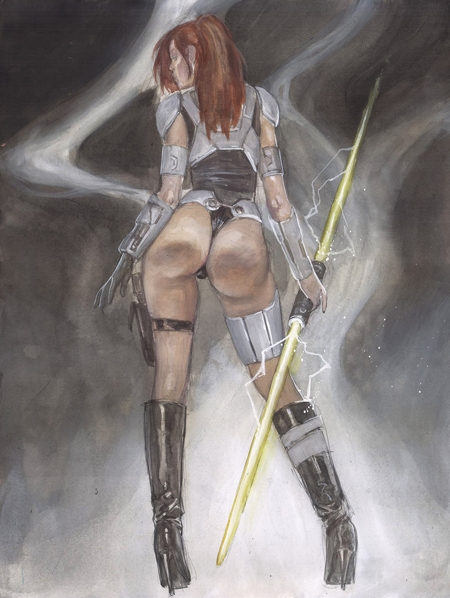 STAR WARS: SEXY WARRIOR REY supergulrz original art mark beachum erotic may the force be with you the force awakens