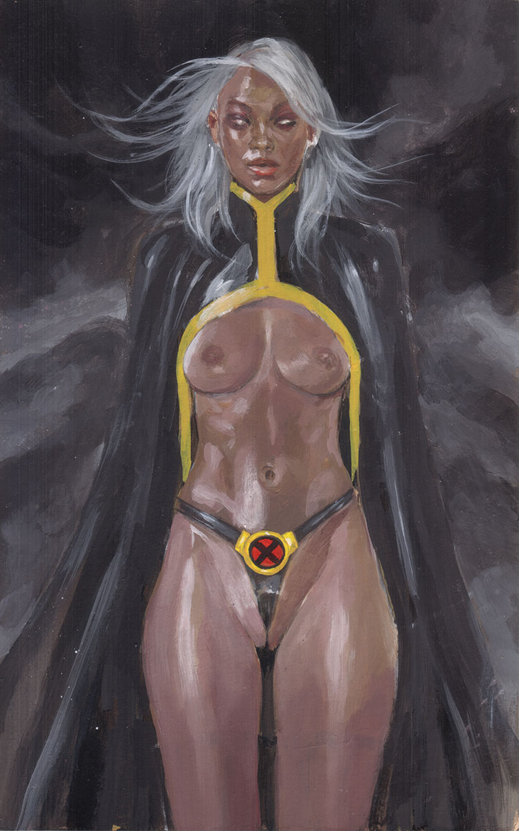 Storm: Glowing in the Sky EROTIC ADULT COMIC ART MARK BEACHUM SUPERGURLZ SEXY STORM X-MEN LATEX FETISH