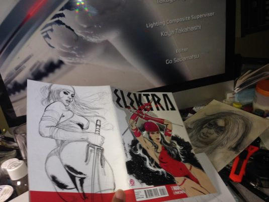 Mark Beachum Original Art ELEKTRA #1 Sketch Cover Variant 3